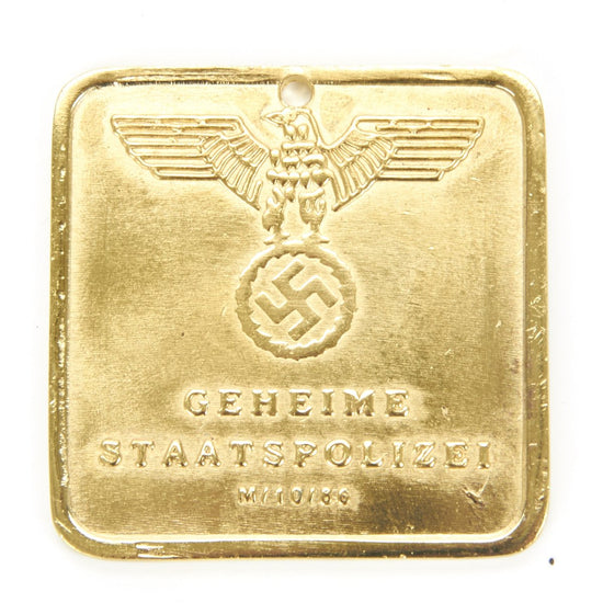 German WWII Secret Police Brass ID Tag New Made Items