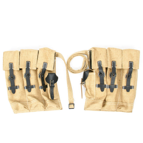 German WWII MP 44 Magazine Jute and Leather Pouch Set