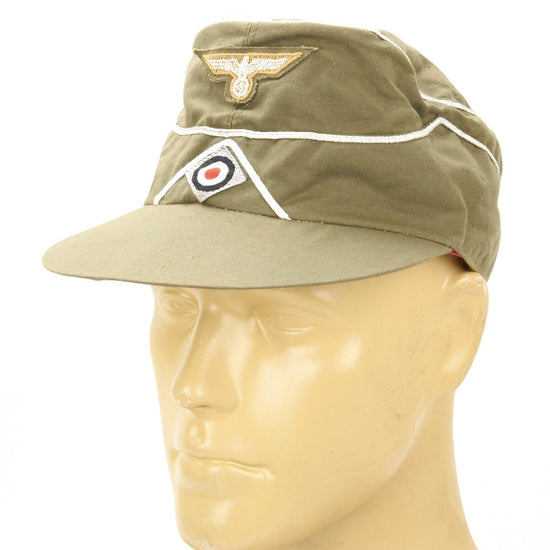 German WWII Afrika Korps Forage Cap with Insignia- Wehrmacht Green