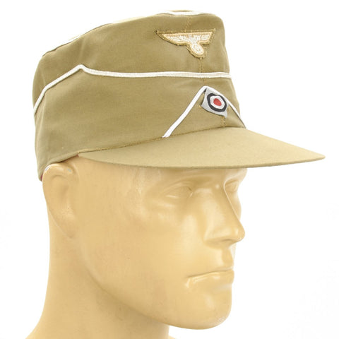 German WWII Afrika Korps Forage Cap with Insignia- Khaki