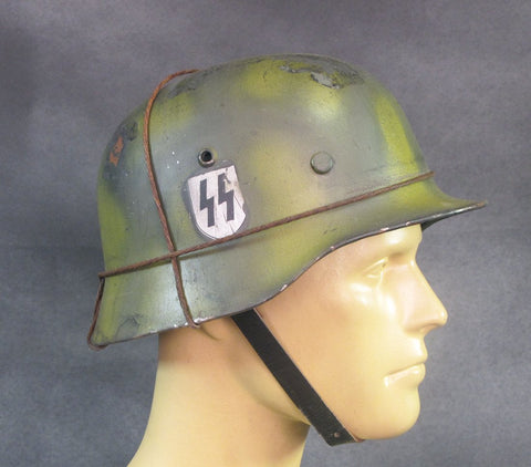 German WWII M35 Steel Helmet- SS Single Decal Summer Camouflage with Wire