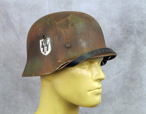 German WWII M35 Steel Helmet- SS Single Decal Autumn Camouflage