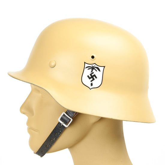 German M35 Afrikakorps (DAK) Desert Tan Helmet with Affixed Decals