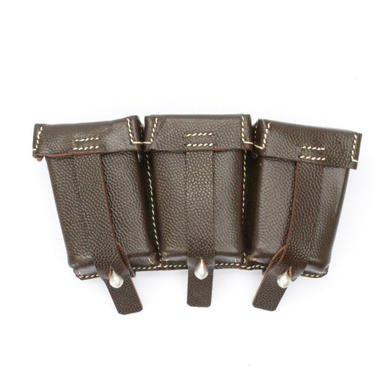 German WWII 98K Brown Leather Triple Ammunition Pouch