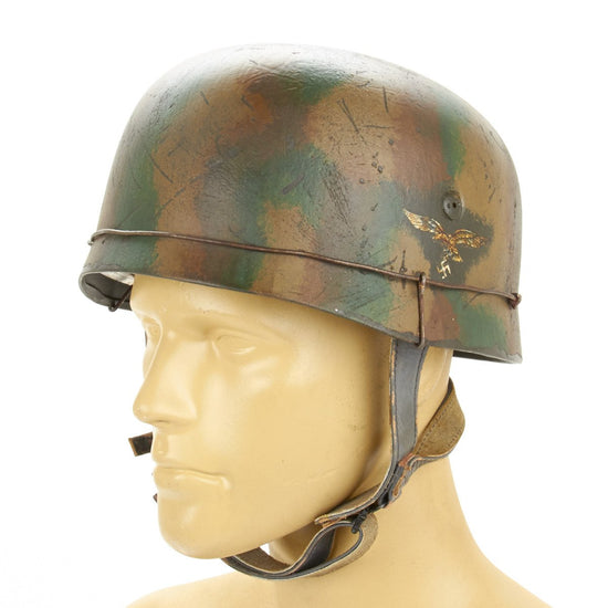 German WWII Paratrooper M38 Fallschirmjäger Helmet- 1944 6FJ Regiment Normandy Camouflage