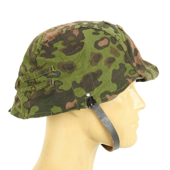 German WWII Helmet Cover with Steel Hooks Reversible Summer and Autumn Oak Pattern A Camouflage