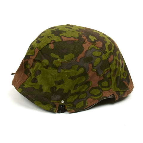 German WWII Helmet Cover with Steel Hooks Reversible Summer and Autumn Oak Pattern A Camouflage - No Loops