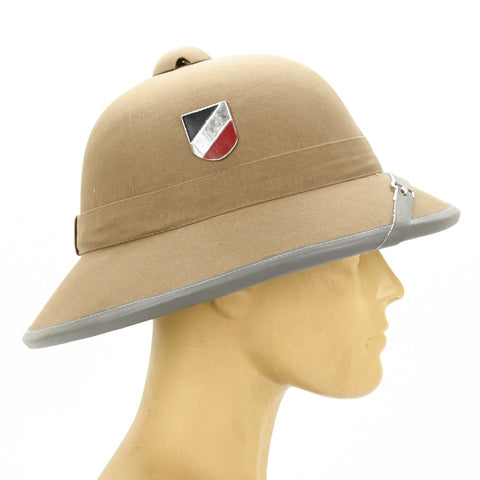 German WWII Afrikakorps Sun Helmet with Metal Badges