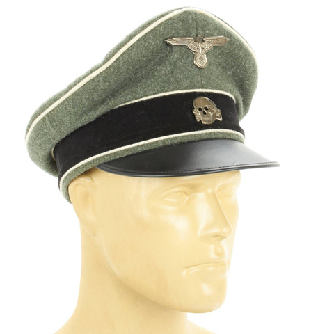 German Waffen SS NCO Crusher Cap - Field Grey Wool with Metal Badges