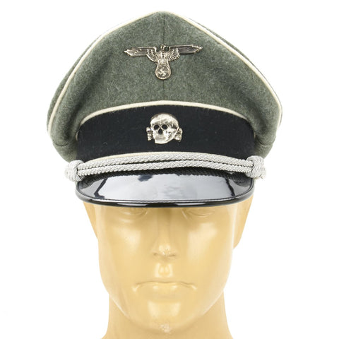 German Waffen SS Officer Crusher Cap - Field Grey Wool with Metal Badges New Made Items