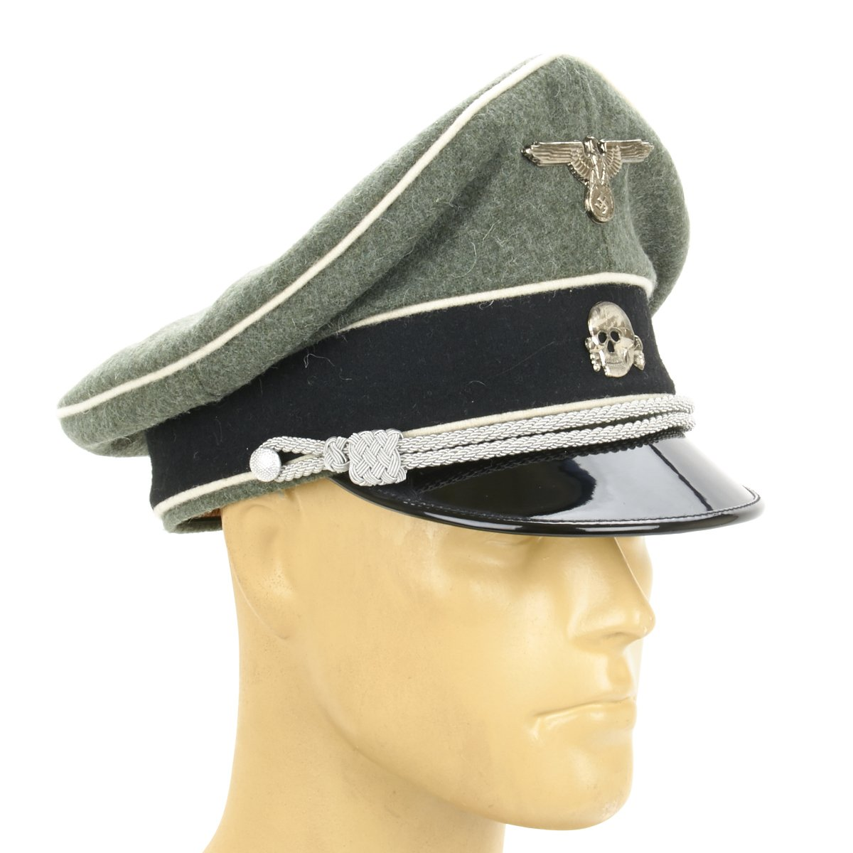 0beab76a893 German Waffen SS Officer Crusher Cap - Field Grey Wool with Metal Badges