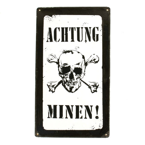 German WW2 Vintage Metal Sign Achtung Minen!