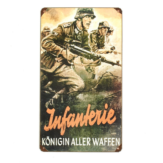 German WWII Vintage Metal Sign Infanterie