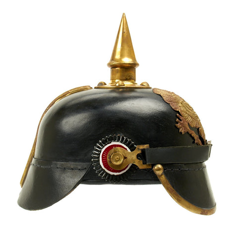 Imperial German Spiked Pickelhaube Helmet: Black & Gold- ANTIQUED GRADE 2