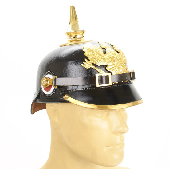 Imperial German Spiked Pickelhaube Helmet- Black Leather and Brass
