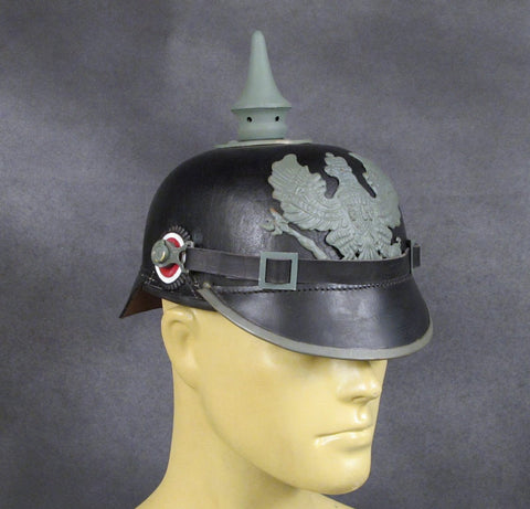 Imperial German Spiked Pickelhaube Helmet: Black & Grey