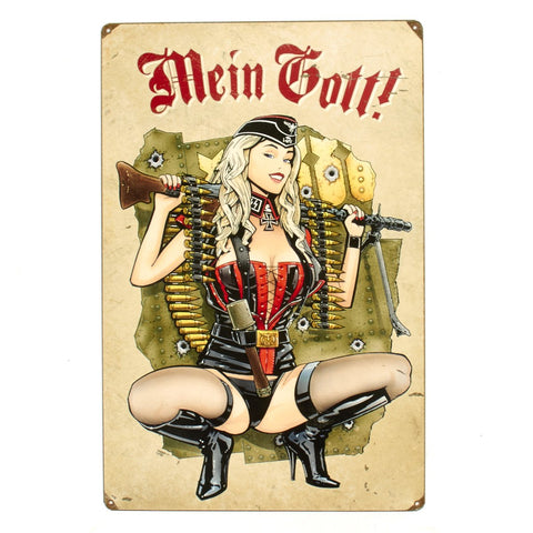German WWII Vintage Metal Sign MG 34 Gunner Girl