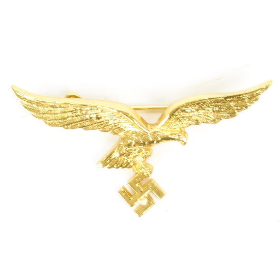 German WWII Breast Eagle Luftwaffe Metal Gold Badge