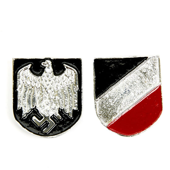 German WWII Afrikakorps Pith Helmet Badges - DAK Army (pair) New Made Items