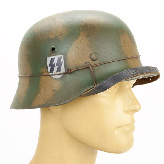 German WWII M35 Steel Helmet - Tricolor 12th SS Panzer Normandy Pattern