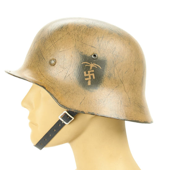 German WWII Reproduction M35 Afrika Korps 15th Panzer Division Helmet- Hand Painted Palm