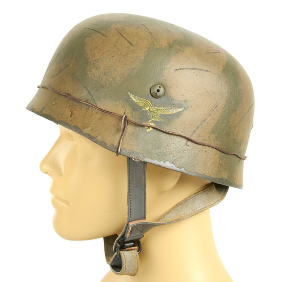 German WWII 7th Flieger Division with First Pattern Eagle Paratrooper M38 Fallschirmjäger Helmet
