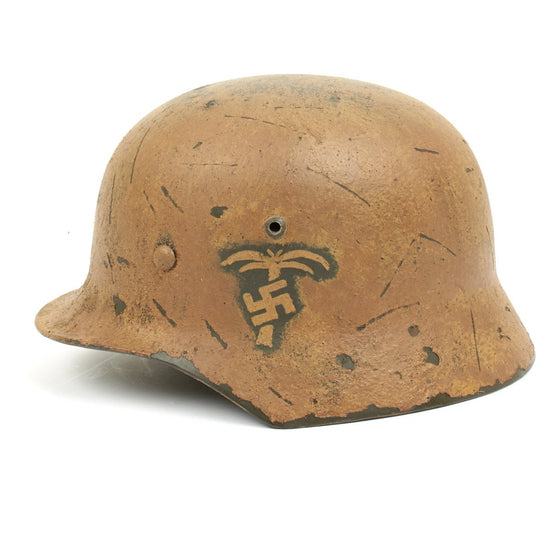 German WWII Reproduction M35 Afrika Korps Helmet with Hand Painted Palm