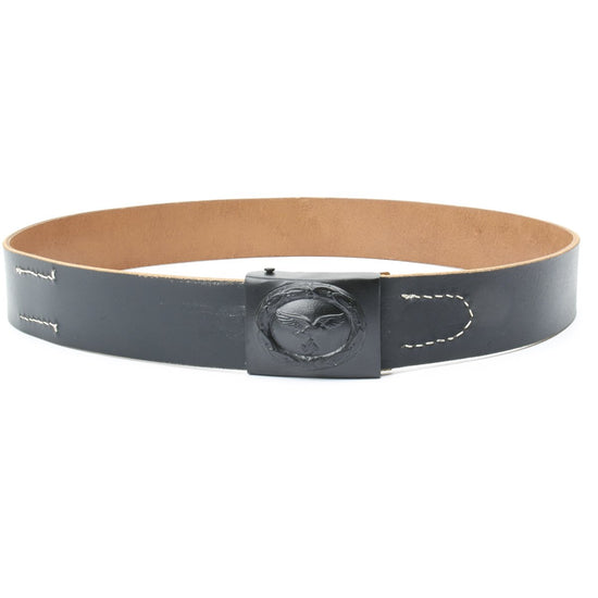 German WWII Black Leather Belt with Steel Luftwaffe (Air Force) Buckle New Made Items