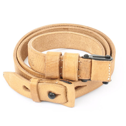 German WWII Mauser 98K K98k Rifle Leather Sling - Natural Tan