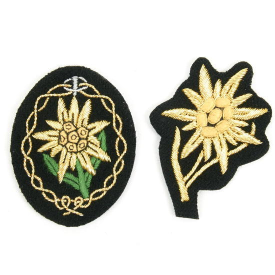 German WWII Gebirgsjäger General's Cap and Sleeve Badge Set (Pair)- Edelweiss New Made Items