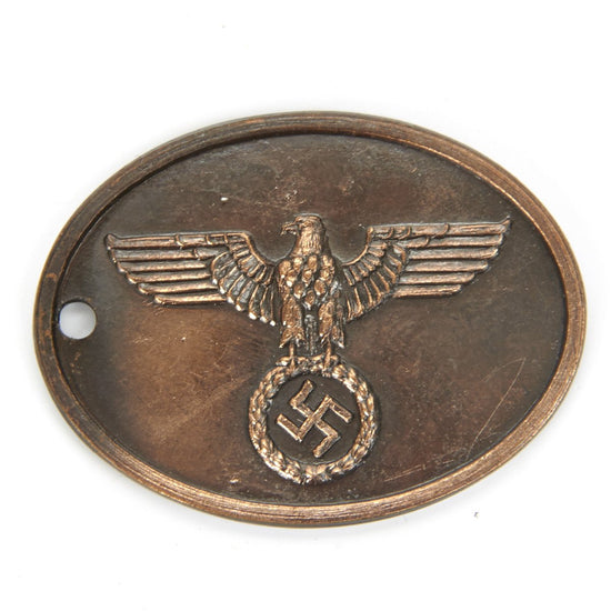 German WWII Gestapo Copper Identification Tag New Made Items