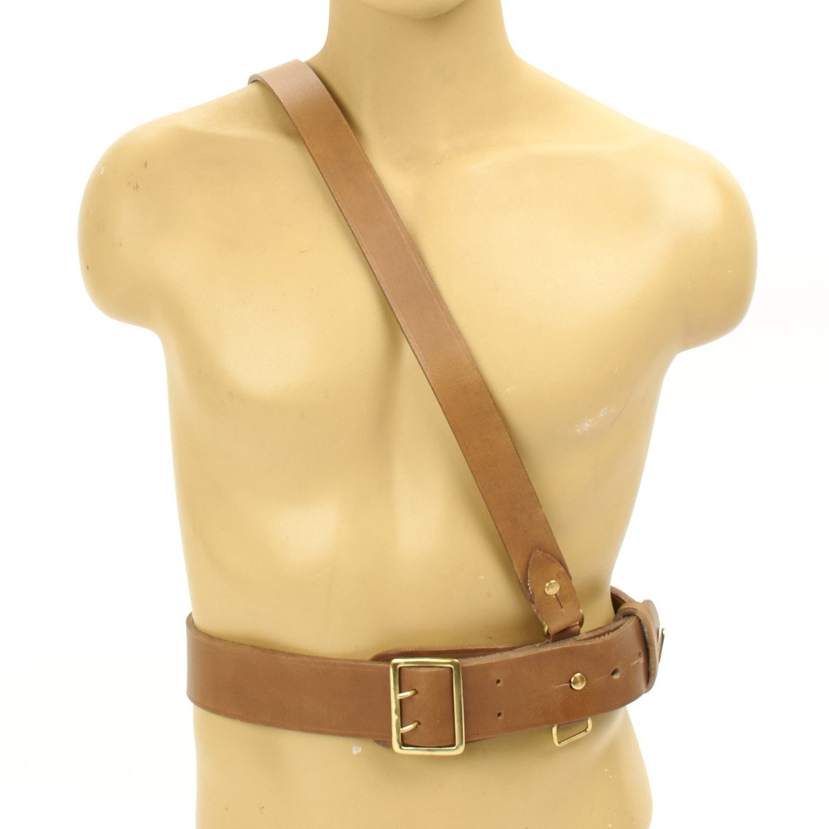 SAM BROWNE REAL LEATHER MILITARY BELT with CROSS STRAP  MOST SIZES