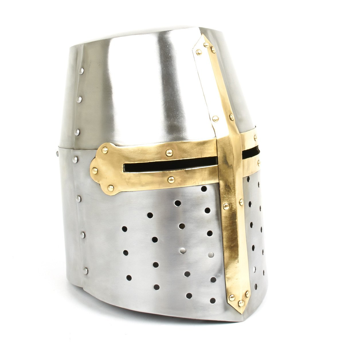 Medieval Crusader Knight's Great Helmet - 18G Steel and Brass with Leather  Liner