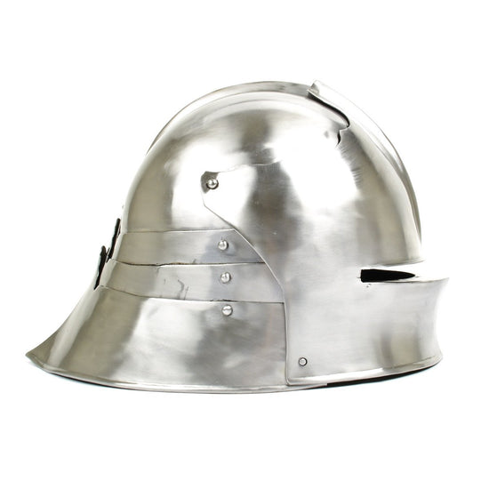 Gothic Sallet 1480 Helmet - 18G Steel with Leather Liner