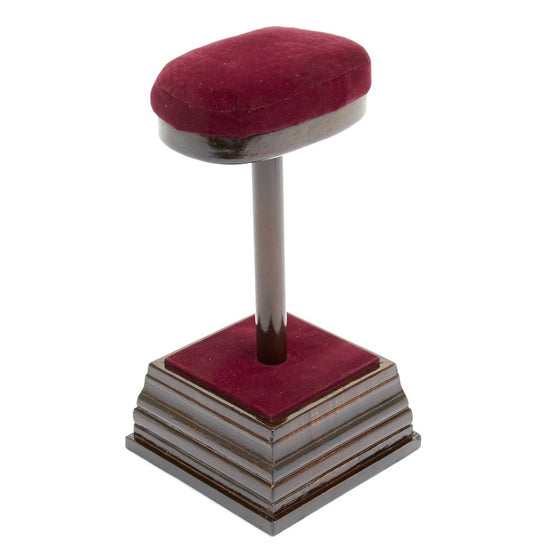 Museum Style Wood and Velvet Helmet Display Stand
