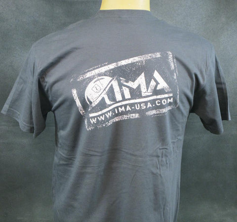 IMA Stamp Logo Gunmetal Cotton T-Shirt