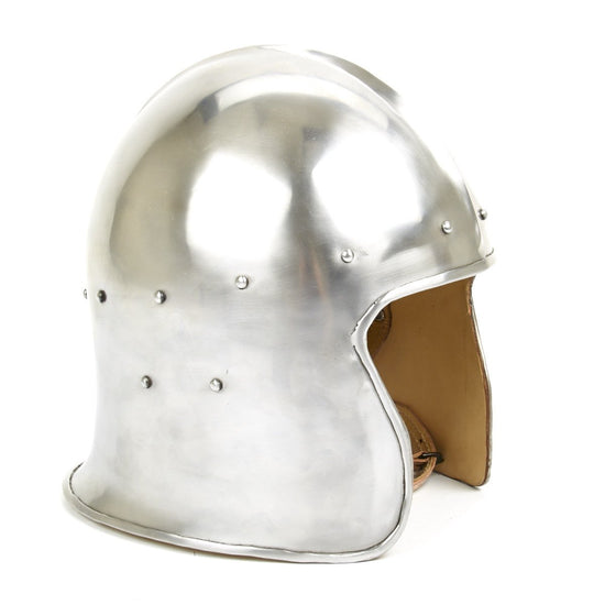 Medieval North Italian Barbute - 18G Steel with Leather Liner
