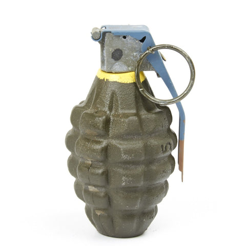 U.S. WWII Mk 2 Cast Iron Pineapple Grenade with Yellow Band