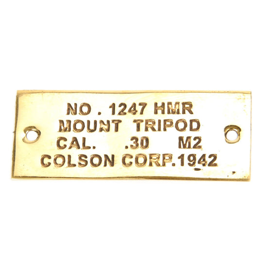 U.S. Browning M1919A4 .30 cal M2 Tripod Brass Data Plate New Made Items