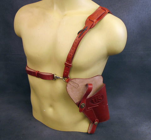 CLOSEOUT SPECIAL: U.S. WWII .45 cal M7 Leather Shoulder Holster Rig- Embossed U.S.