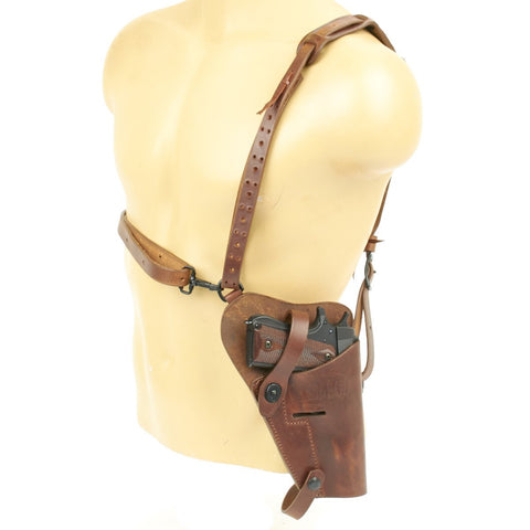 U.S. WWII .45 Cal M7 Shoulder Holster Rig- Brown Leather Embossed USMC- Genuine lift-the-dot closures