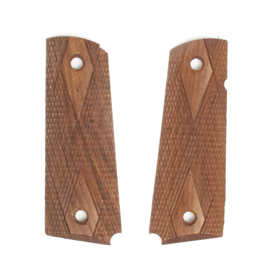 U.S. 1911 Colt Pistol Hardwood Diamond Checkered Grip Panel Set
