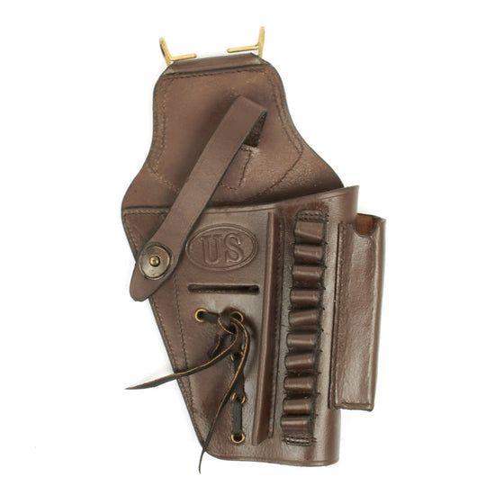 U.S. Beretta 92 Model Brown Leather Hip Holster with Laser Sight Option- Embossed U.S.