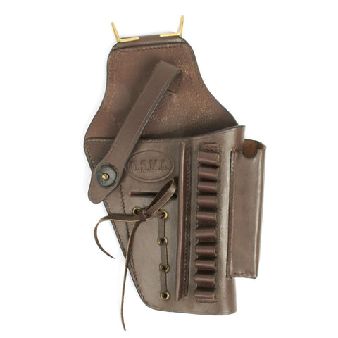 U.S. Beretta 92 Model Brown Leather Hip Holster with Laser Sight Option- Embossed U.S.M.C