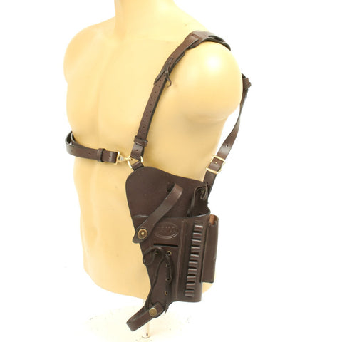 U.S. Beretta 92 Model Brown Leather Shoulder Holster with Laser Sight Option- Embossed U.S.M.C