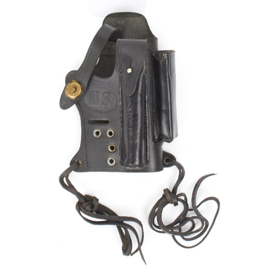 U.S. Walther P-22 Compatible Black Leather Holster with Magazine and Silencer Pockets
