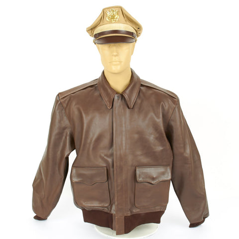 U.S. WWII Army Air Force USAAF Type A-2 Flight Jacket- Genuine Russet Brown Leather