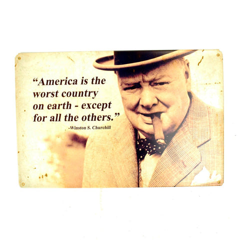 U.S. WW2 Vintage Metal Sign: Winston Churchill Quote