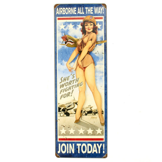 U.S. WWII Vintage Metal Sign Airborne All the Way