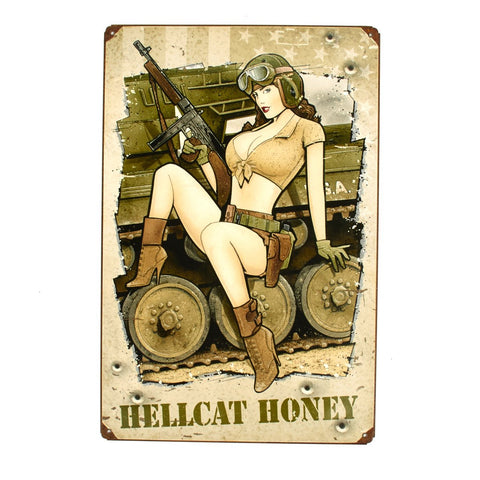 U.S. WWII Vintage Metal Sign Hellcat Honey with a Thompson SMG